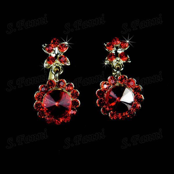 Fast delivery!Red New design Rhinestone headwear earrings and necklaceSet bj013 jewelry