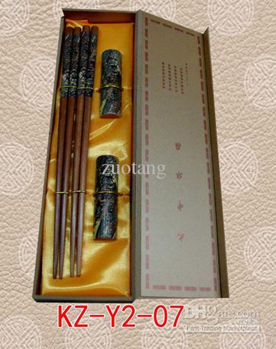 安く装飾的な箸販売中国の木製印刷ギフトボックス2セット/パック(1set = 2pair)無料