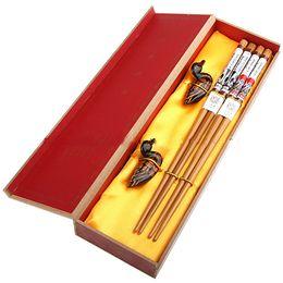 Palillos decorativos baratos Venta Caja de regalo de impresión de madera china 2 Set / pack (1set = 2pair) Gratis desde fabricantes