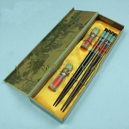 Billiga Dekorativa ätpinnar Försäljning Kinesisk Träutskrift Presentförpackning 2 Set / Pack (1Set = 2Pair) Gratis