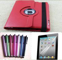 Wholesale Ipad3 Pen - 360 Degree Rotating Leather case for iPad2 New iPad3 + 50pcs Screen Protector + 50pcs Stylus pen
