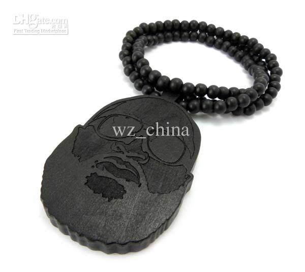 Good Quality Wood Rick Ross Face Inspired Pendant Goodwood NYC Halsband 36