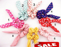 Wholesale Korean Ponytail Style - Cute Rabbit Ear Hair Bands Tie Accessories Japan Korean Style Ponytail Holder bracelet lovely
