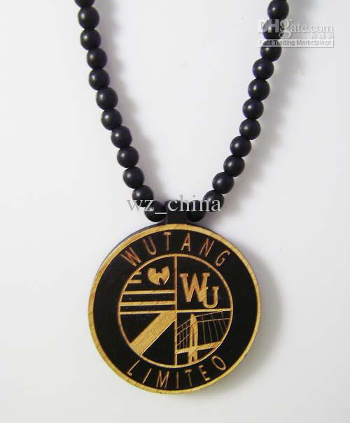 Fashion jewelry Good Quality Hip-Hop 20pcs wutang Pendant Wood Rosary Bead 36' Goodwood Necklaces
