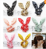 Wholesale Rabbit Hair Bracelet - Fashion women girl Sweet Rabbit Ear Hair Bands Tie Accessories Japan Korean Ponytail Holder bracelet Hair Accessories