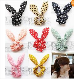 rubber tied 2019 - Fashion women girl Sweet Rabbit Ear Hair Bands Tie Accessories Japan Korean Ponytail Holder bracelet Hair Accessories di