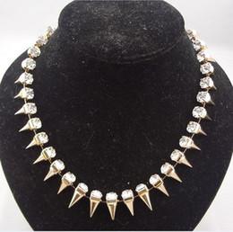 Wholesale Rivets Gun - Punk Silver Gold Gun Black Rivets Rhinestone Crystal Choker Necklace 1pc lot mix color