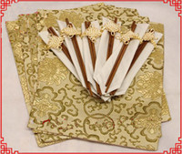 Wholesale Silks Placemats - Luxury Silk Brocade Banquet 6 Sets of Placemats and Chopsticks High End Atmosphere 1set lot Free shipping