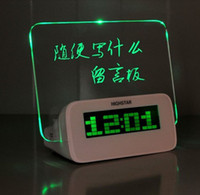 Wholesale Fluorescent Clock - New USB distributing box alarm clock LED wirtting Fluorescent Message board message board with pen