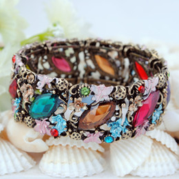 Ancient Bronze Resin Diamond Bracelets Rretro Court Style