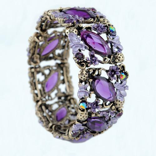 Antike Bronze Harz Diamant Armbänder Rretro Court Style