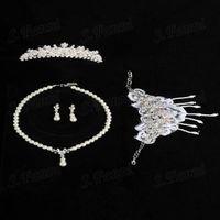 Wholesale crystal bracelets designs resale online - Fast Delivery Fashion Design Pearl Headwear Earrings Bracelet And Necklace Set Bj023 Jewelry