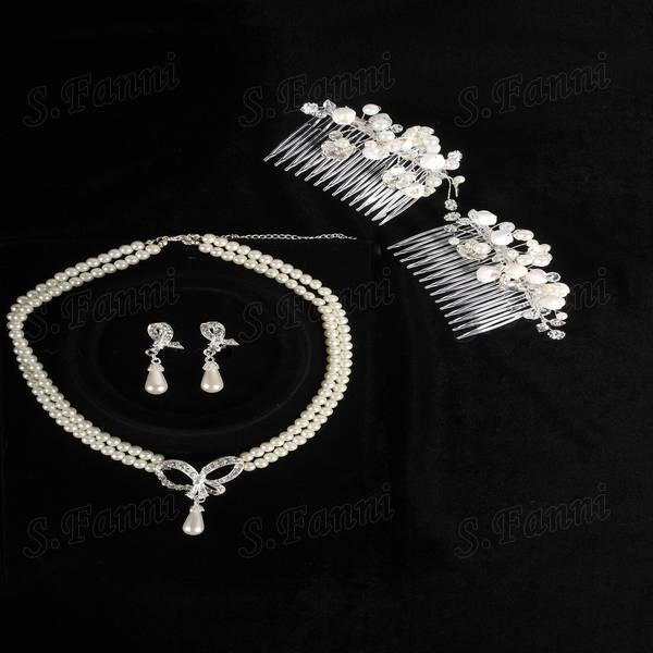 Fast delivery!Fashion Two Rose Headwear Earrings And Necklaces Set Jewelry