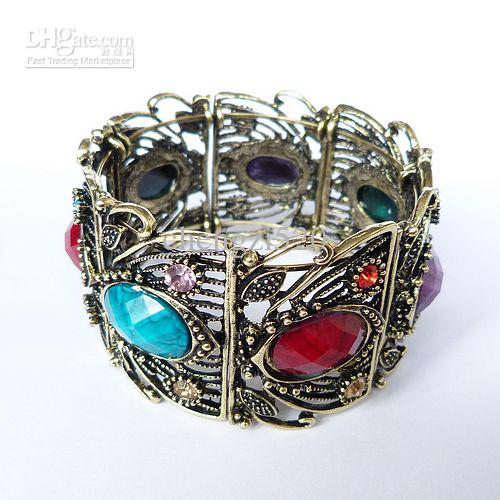 Extra-Wide Hollow Bronze Gemstone Bracelets 4colors Mixed