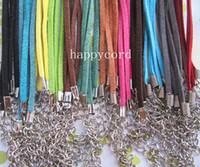 18 deri kordon kolye toptan satış-3mm 18-20 inç ayarlanabilir çeşitli Renk süet deri kolye kordon ıstakoz toka 120 adet / grup