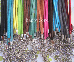 Wholesale Leather Necklace Cords Wholesale - 3mm 18-20inch adjustable assorted Color suede leather necklace cord with lobster clasp 120pieces lot