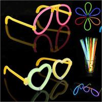 Wholesale Star Shaped Glow Sticks - Heart Shape Glow Glasses Frame Flashing Stick For Star Party Festival Toy 1set=1frame+2 glow stick
