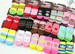 Wholesale Winter Dog Booties - Pet Christmas socks stockings DOG Dog Cat Puppy Socks Booties Shoes Size S M L MIX Order 408