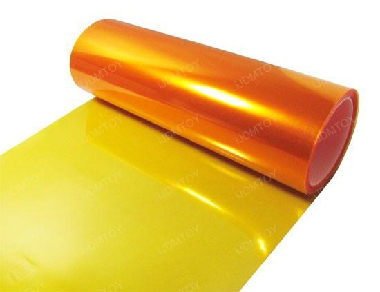 30cm * 10m Glansig Amber Orange Färg Tint Headlights Dimma Light Sidemarker Vinyl Film Motorbil Klistermärke