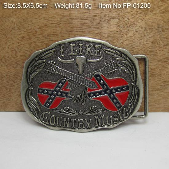 BuckleHome Rebel flag music belt buckle with pewter finish suitable for 4cm wide belt FP-01200