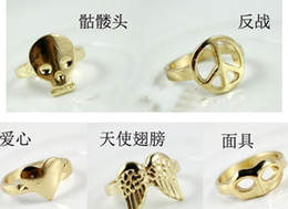 Wholesale Vintage Rings Peace - Wholesale-2012 new fashion Vintage Retro Wings Peace Skull Mask Mix Style Rings SY3