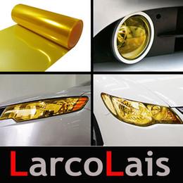 Wholesale Yellow Fog Tint - 30cm*10m Glossy Yellow Tint Protective Headlights Fog Lights Sidemarker Vinyl Film Motor Car Sticker