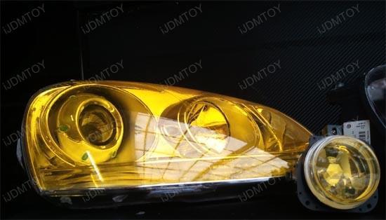 30cm * 10m Glanzend Geel Tint Beschermende Koplampen Mistlichten Sidemarker Vinyl Film Motor Auto Sticker