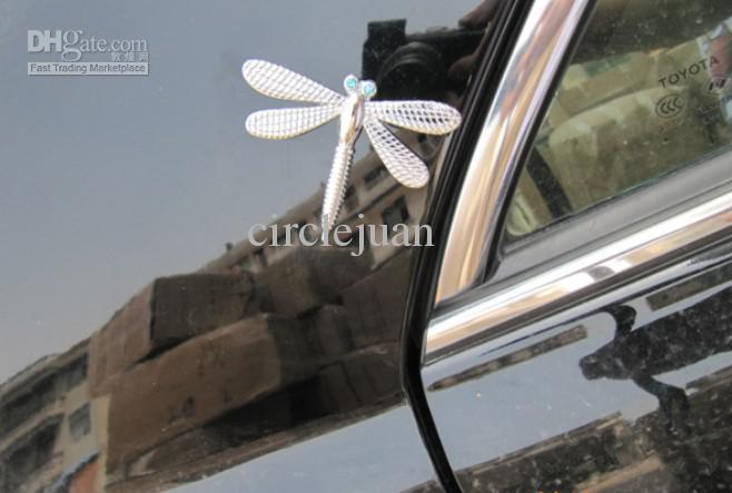 3D Metal Dragonfly Funny Car Stickers Decals Silver & Gold Bumper Stickers