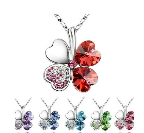 Women Girl Luck Necklaces Four Leaves Clover diamond Crystal Pendant Necklace Charm Jewelry Silver Rope Chian 8 colors Christmas party gift