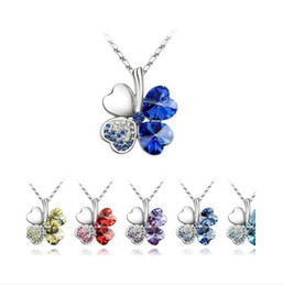 Wholesale Gold Clover Charm Necklace - Lucky necklce women girl Four Leaf Clover shinny Crystal Pendant Necklaces charm Jewelry Silver Chian gift colorul drop shipping