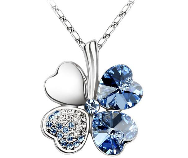 Women Girl Luck Necklaces Four Leaves Clover diamond Crystal Pendant Necklace Charm Jewelry Silver Rope Chian Christmas party gift