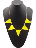 Wholesale choker necklace metal enamel for sale - New Fashion Gold Tone Metal geometry Triangle Enamel Pendant Necklace colors