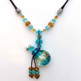 Wholesale Murano Jewelry Oil - Crystal Pendant Jewelry Crystal Pendant necklaces MURANO GLASS DIFFUSER Essential Oil NECKLACE
