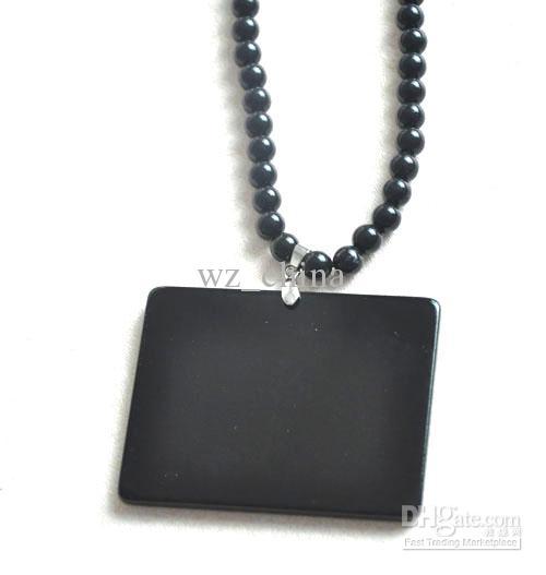 20% de réduction! Collier de perles acrylique HIPHOP pas bois Collier de chapelet avec pendentif noir 10pcs