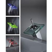 Wholesale Led Waterfall Kitchen Faucet - Kitchen Bathroom RGB LED Light Waterfall Faucet Mixer Tap Sink flashing