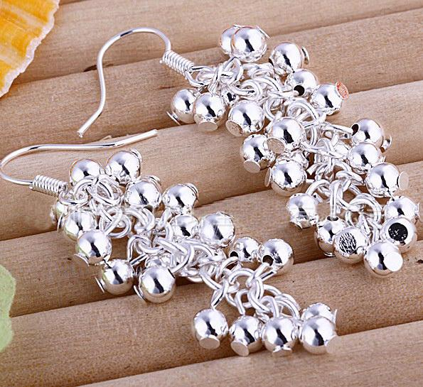 9 STYLE! Korea NEW fashion jewelry mark 925 silver beads grape earrings wholesale.12pairs(24pcs)/l