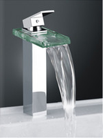 Waterfall square glass vessel sink - Classic Design Faucet Waterfall Square Glass Kitchen Bathroom Vanity Vessel Sink A