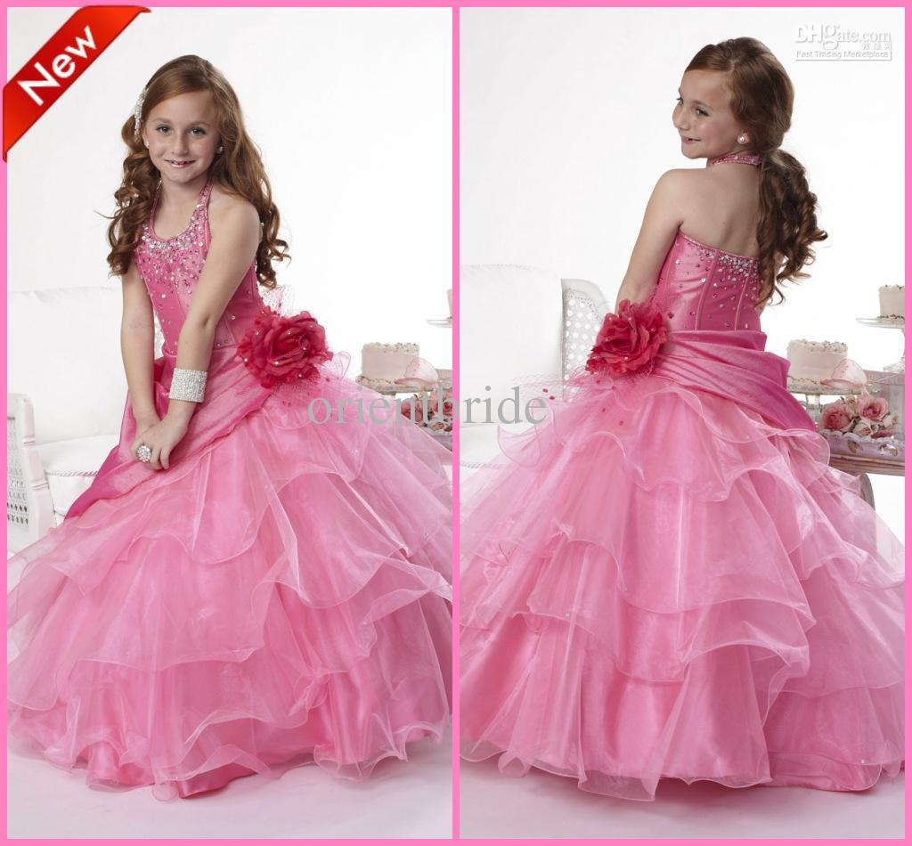 Designer Halter Beaded Handmade Flower Layered Skirt Ball Gown ...