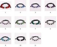 Wholesale Disco Bracelet 11 Ball - Lowest price retail 11 color Freedom choice disco ball pave beads crystal bracelets jewelry Hand woven friendship bracelets