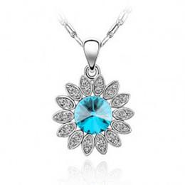 Collier tournesol plaqué or en Ligne-Helios, apollo, Titans, Livraison de bijoux gratuite Sea Blue SunFlower Crystal - Collier plaqué or 18 carats