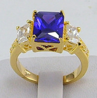 Wholesale Tanzanite Solitaire Ring - Free Shipping!HOT New Fashion Elegant women mens lovers wedding ring 2.68ct Tanzanite gemstone ring diopside rings solid 14k yellow gold