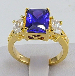 Wholesale Yellow Gold Solitaire Ring Setting - Free Shipping!HOT New Fashion Elegant women mens lovers wedding ring 2.68ct Tanzanite gemstone ring diopside rings solid 14k yellow gold
