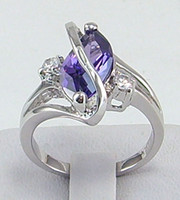 Wholesale Tanzanite Ring Settings - Wholesale -Free Shipping! New Fashion Elegant womens ring 2.52ct Tanzanite gemstone ring diopside rings solid 14k white gold HOT