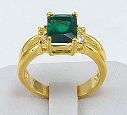 Wholesale Solitaire Emerald Rings - Wholesale - womens ring 1.98ct Emerald gemstone ring diopside rings solid 14k yellow gold Free Shipping!
