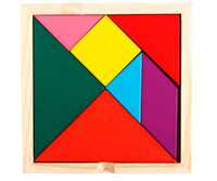 Wooden square puzzle game - Whoelsale Wooden Tangram Piece Puzzle Square I Q Game Brain Teaser Intelligent Toy