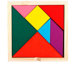 Wholesale Brain Toys - Whoelsale-Wooden Tangram 7 Piece Puzzle Square I.Q. Game Brain Teaser Intelligent Toy