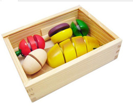 wooden vegetables toys NZ - Free Shipping CLASSIC Children Wooden Kitchen Toy Fruit and Vegetable Cutting Game Baby Educational