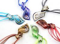 Wholesale Italian Beaded Necklace - Thread Art murano glass pendant beaded necklace Fashion Italian venetian Lampwork glass jewelry