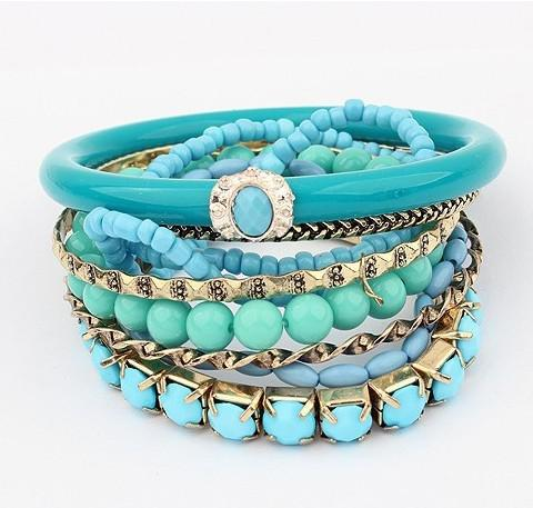 Acryl Perlen Anzüge Armband Legierung Wild Armbänder