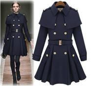 cape style coat toptan satış-Yeni monde ince kadın palto kadın trençkotlar palto kadın coats Kadın Dış Giyim Pelerin tarzı yün ceket